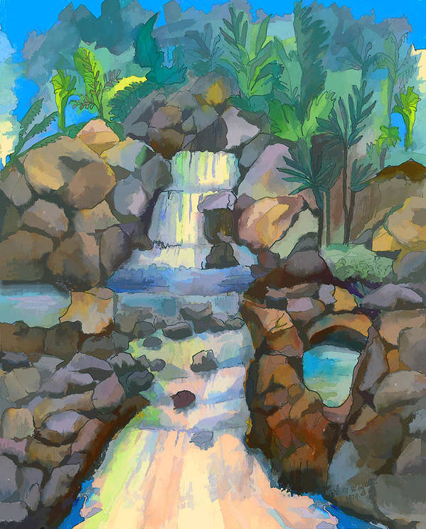 Waterfall Art Print featuring the painting Tropical Rainbow Waterfall by Arline Wagner