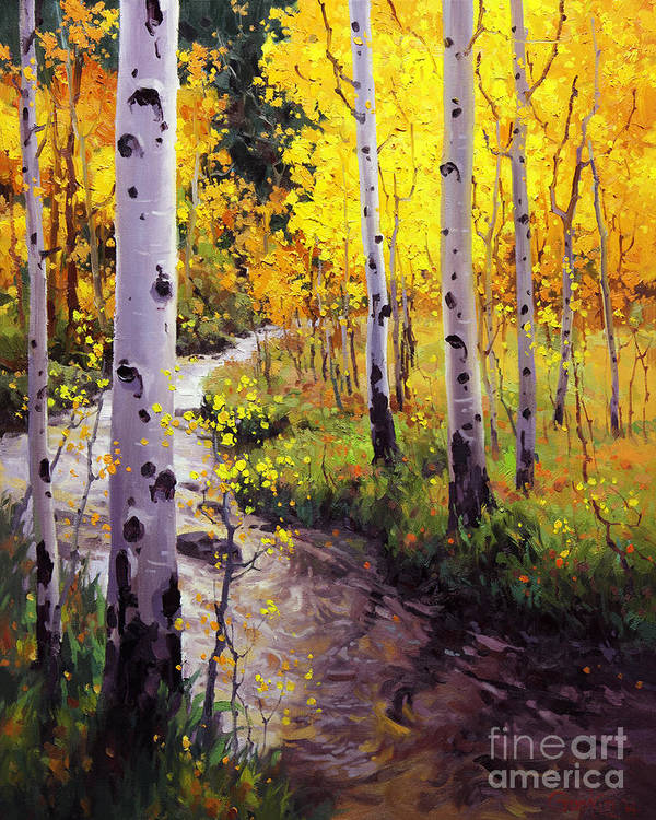 Twilight Glow Over Aspen Mountains Landscape Scenic Nature Fall Sky Aspen Trees Fall Foliage Art Print featuring the painting Twilight Glow Over Aspen by Gary Kim