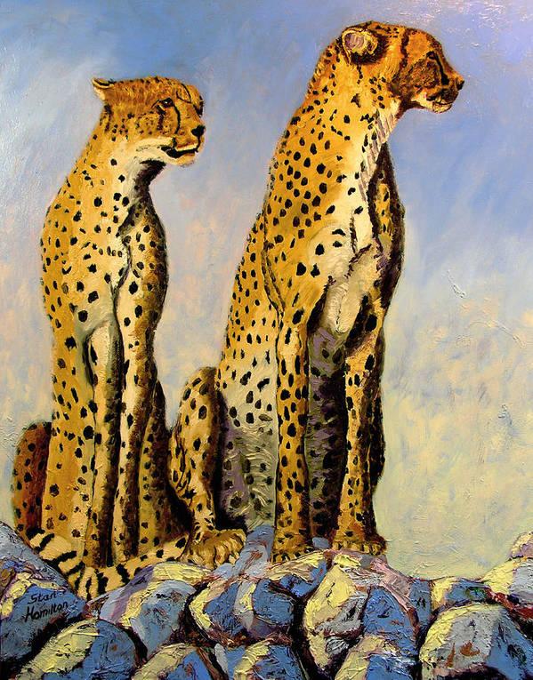 Cheetahs Art Print featuring the painting Two Cheetahs by Stan Hamilton