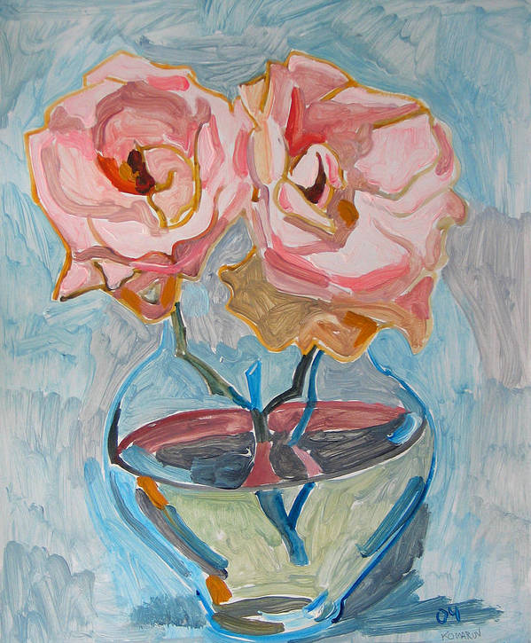 Rose Art Print featuring the painting Two pink roses by Vitali Komarov