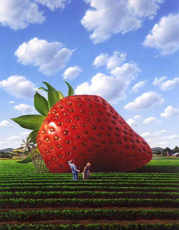 Strawberry Art Print featuring the painting Unexpected Growth by Jerry LoFaro