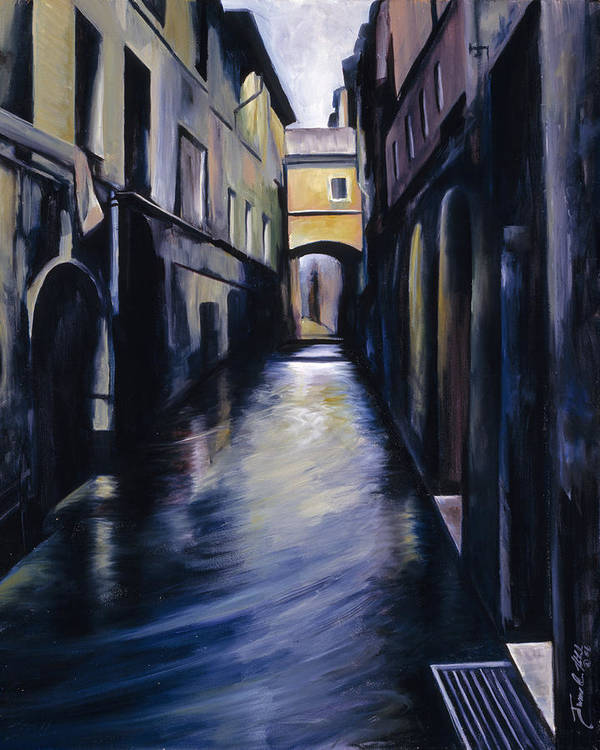 Street; Canal; Venice ; Desert; Abandoned; Delapidated; Lost; Highway; Route 66; Road; Vacancy; Run-down; Building; Old Signage; Nastalgia; Vintage; James Christopher Hill; Jameshillgallery.com; Foliage; Sky; Realism; Oils Art Print featuring the painting Venice by James Christopher Hill