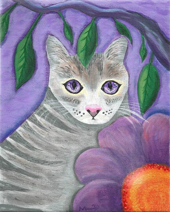 Violet Purple Lavender Eyes Kitty Cat Flower Floral Tabby Grey Art Print featuring the painting Violet Eyed Cat by Monica Resinger