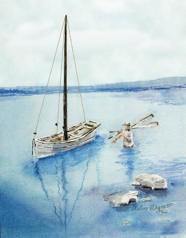 Boat Art Print featuring the painting Waist Deep by Arline Wagner