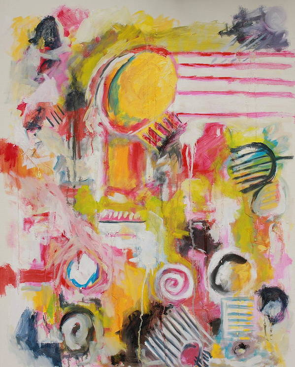 Abstract Art Print featuring the painting Woman Doing Her Hair and Nails by Michael Henderson