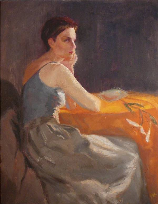Young Woman Dressed In Modern Outfit Seated At A Table On Which A Single Stem Of White Lily Lies. Art Print featuring the painting SOLD Woman with Lily by Irena Jablonski