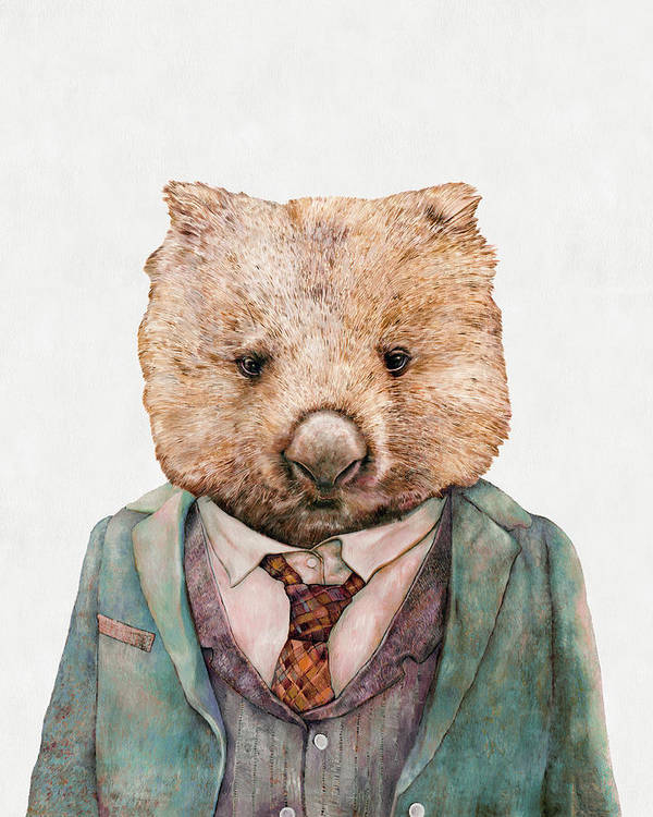 Wombat Art Print featuring the painting Wombat by Animal Crew