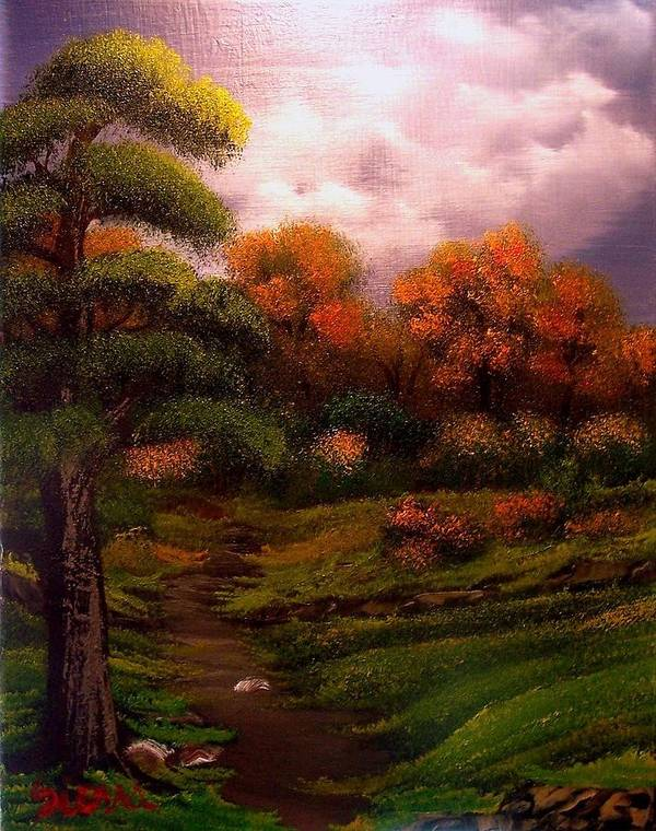 Landscape Art Print featuring the painting Woodland Trail by Dina Sierra