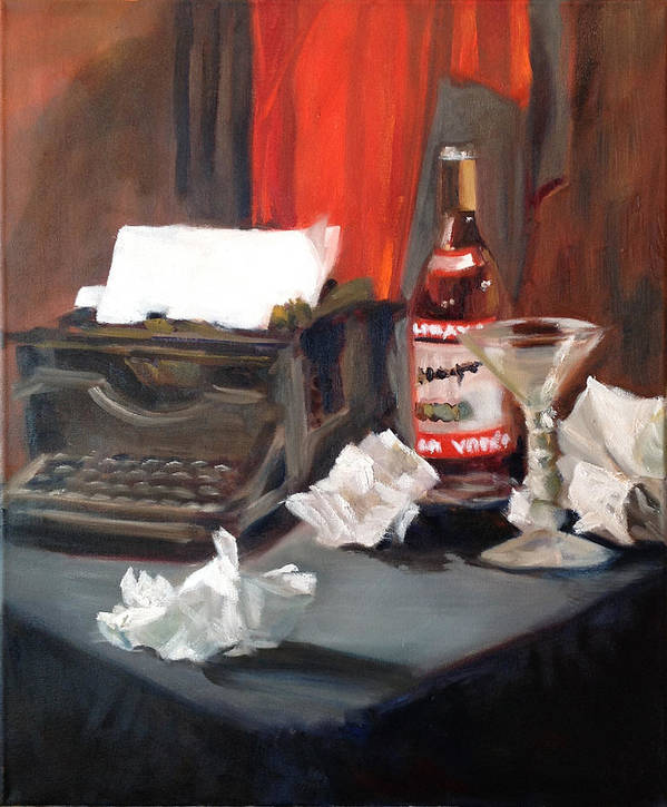 1950s Art Print featuring the painting Writer's Block by Mary Marin