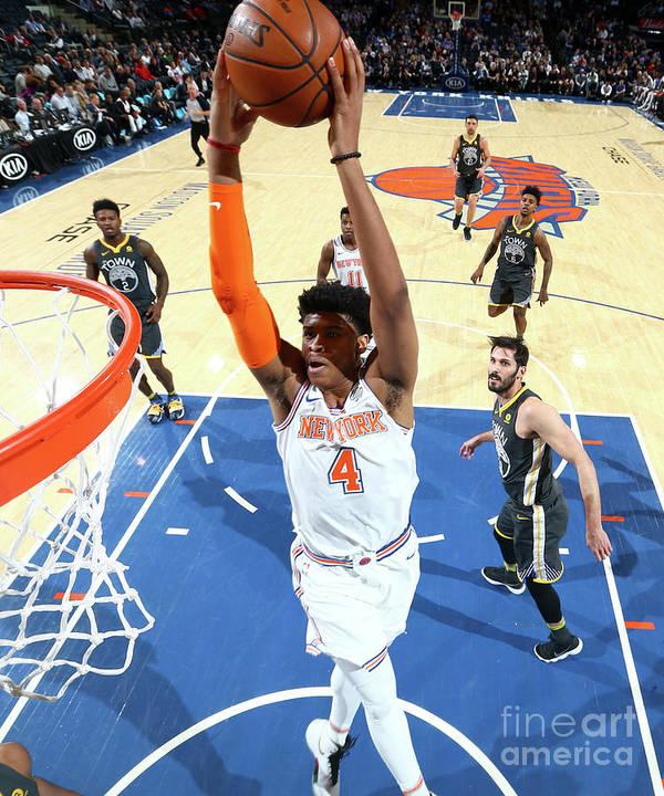 Nba Pro Basketball Art Print featuring the photograph Golden State Warriors V New York Knicks by Nathaniel S. Butler