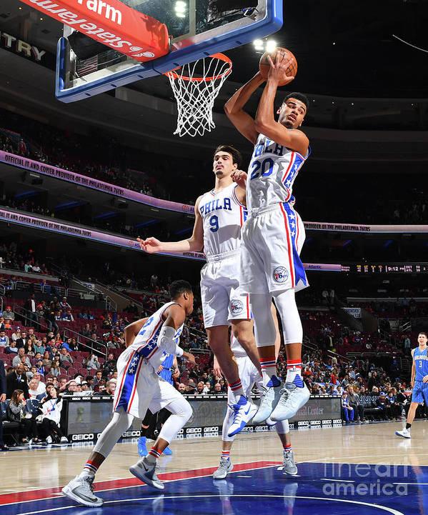 Nba Pro Basketball Art Print featuring the photograph Philadelphia 76ers V Orlando Magic by Jesse D. Garrabrant