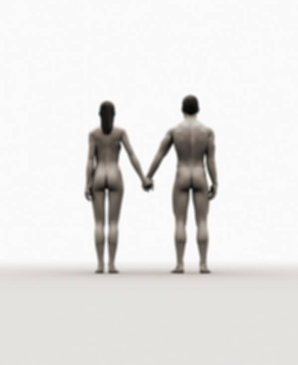 Heterosexual Couple Art Print featuring the digital art A Naked Couple Holding Hands by Jorg Greuel
