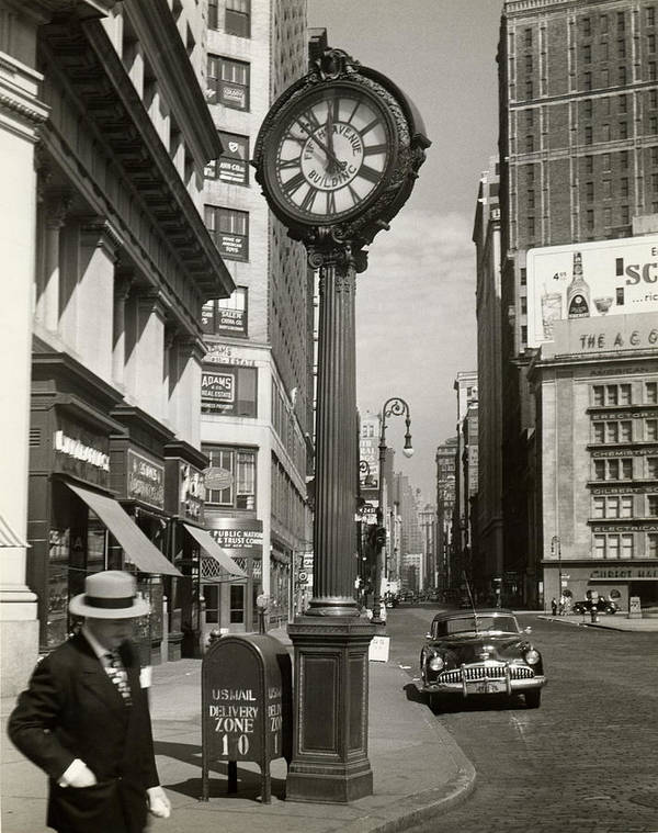 Public Mailbox Art Print featuring the photograph A Street Clock On Fifth Ave., Nyc by George Marks