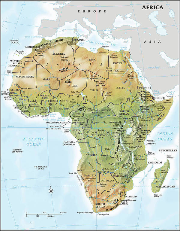 Topography Art Print featuring the digital art Africa Continent Map With Relief by Globe Turner, Llc