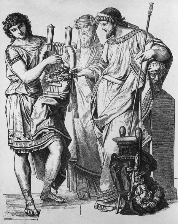 Young Men Art Print featuring the photograph Ancient Greek Music by Hulton Archive
