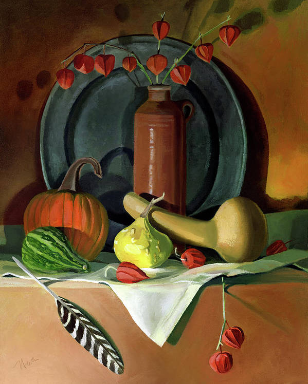 Still Life Art Print featuring the painting Autumn Still Life by Nancy Griswold
