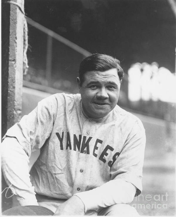 People Art Print featuring the photograph Babe Ruth by Louis Van Oeyen/ Wrhs