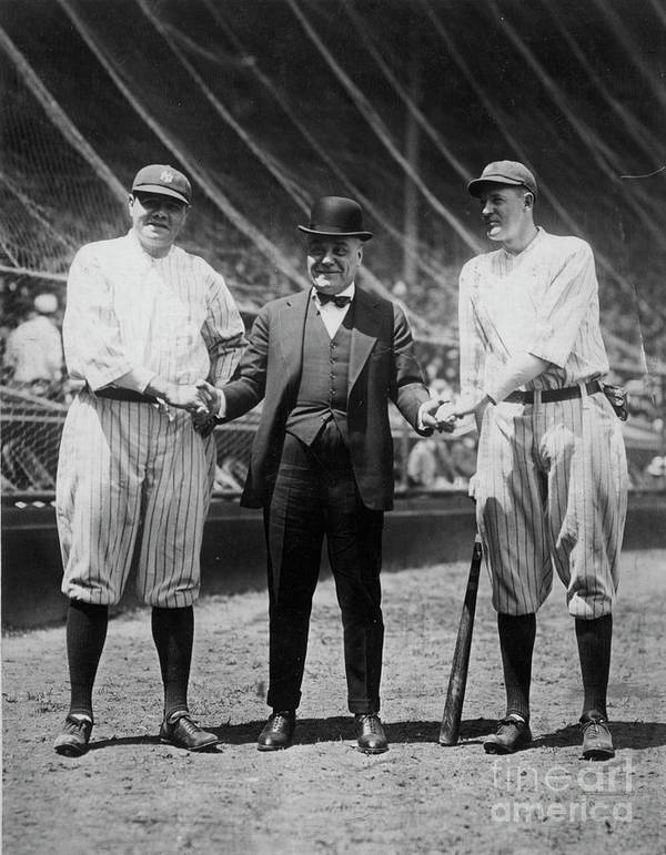 American League Baseball Art Print featuring the photograph Babe Ruth Ruppert Meusel by Transcendental Graphics