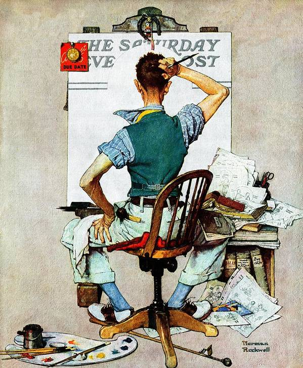 Artists Art Print featuring the drawing blank Canvas by Norman Rockwell
