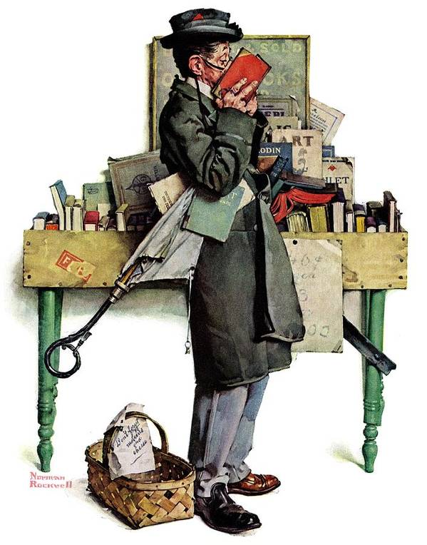 Books Art Print featuring the drawing Bookworm by Norman Rockwell
