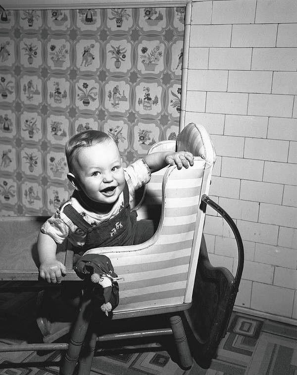 Child Art Print featuring the photograph Boy 2-3 Sitting In High Chair, B&w by George Marks