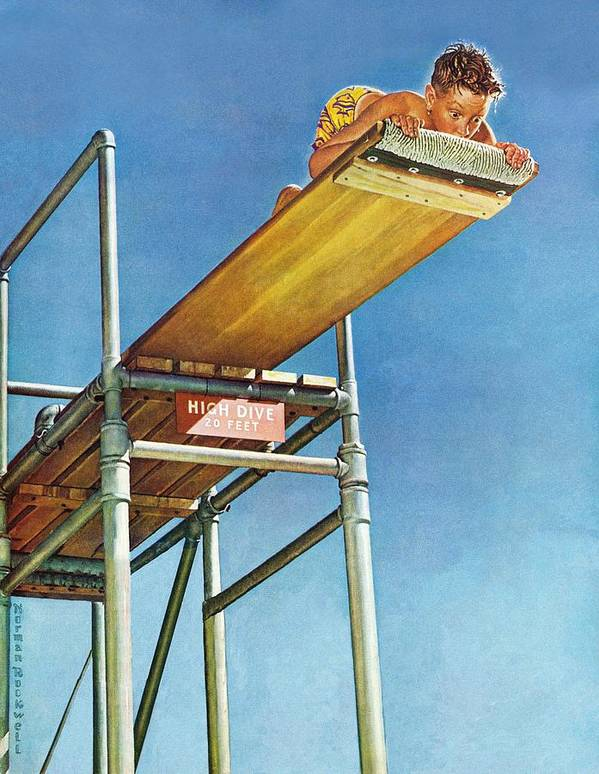 Boy Art Print featuring the drawing Boy On High Dive by Norman Rockwell