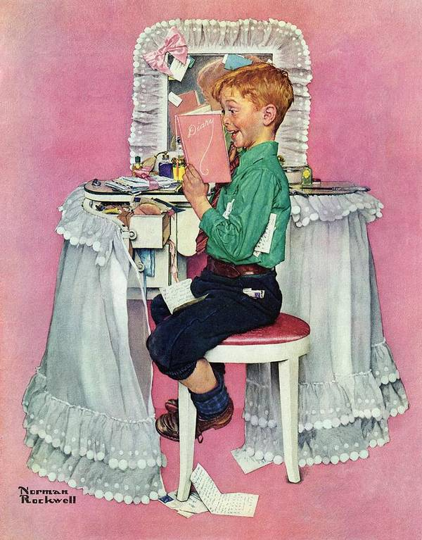 Boy Art Print featuring the drawing boy Reading His Sister's Diary by Norman Rockwell