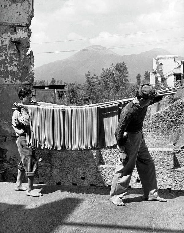 Working Art Print featuring the photograph Boys Working In Pasta Factory Carry by Alfred Eisenstaedt