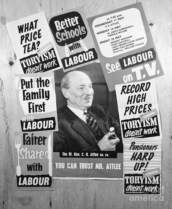 Art Art Print featuring the photograph British Labour Party Election Posters by Bettmann