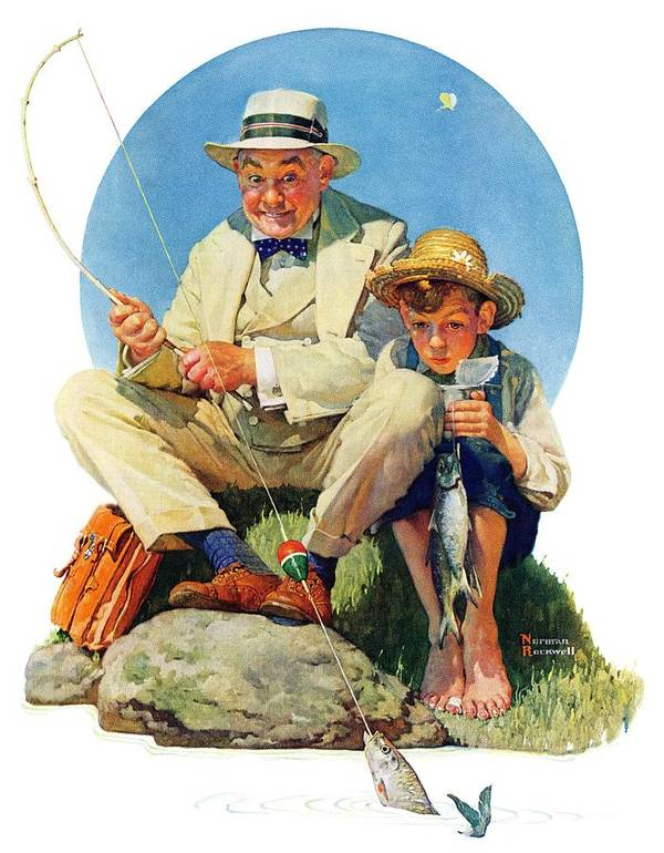 Boy Art Print featuring the drawing Catching The Big One by Norman Rockwell