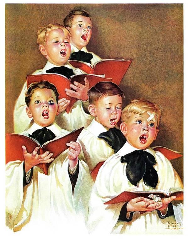 Black Eyes Art Print featuring the drawing Choir Boys Will Be Boys by Frances Tipton Hunter