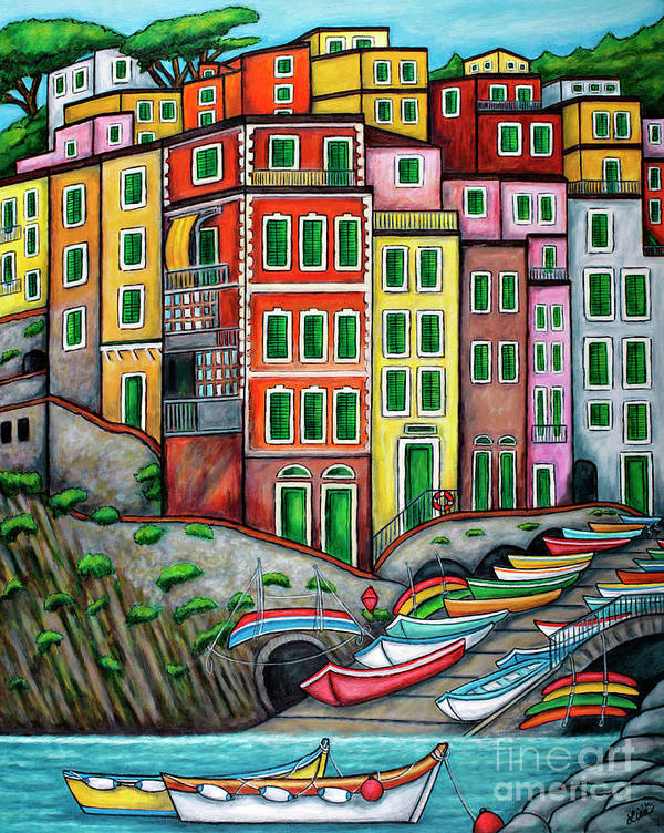Italy Art Print featuring the painting Colours of Riomaggiore Cinque Terre by Lisa Lorenz