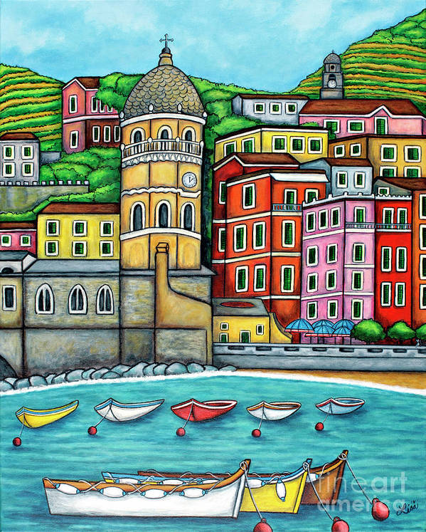 Italy Art Print featuring the painting Colours of Vernazza by Lisa Lorenz