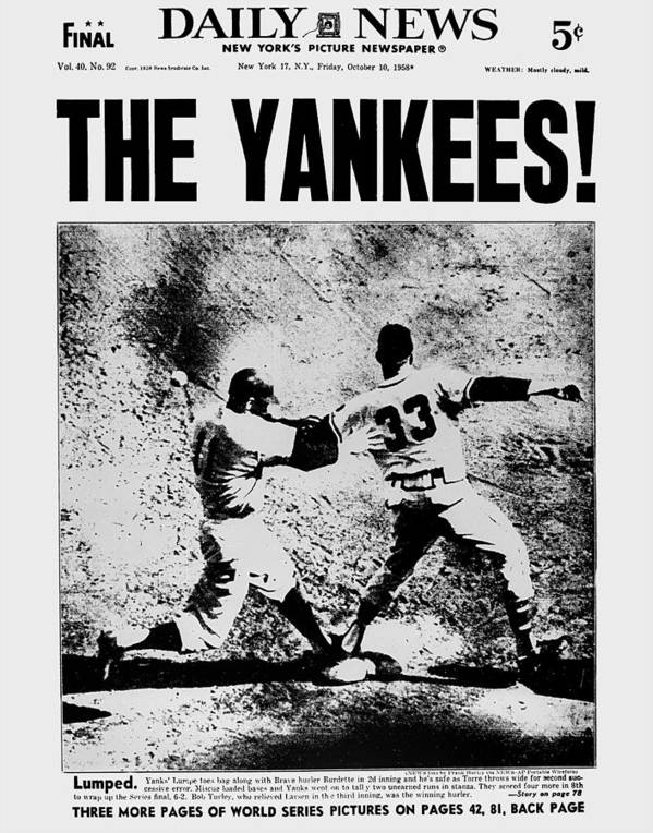 American League Baseball Art Print featuring the photograph Daily News Front Page Dated Oct. 10 by New York Daily News Archive