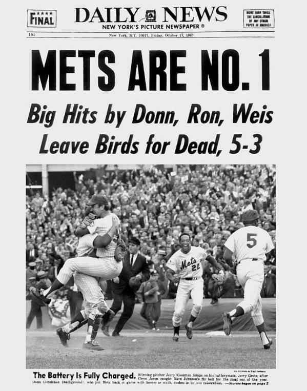 American League Baseball Art Print featuring the photograph Daily News Front Page October 17, 1969 by New York Daily News Archive