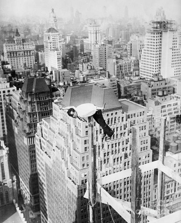 People Art Print featuring the photograph Daredevil Doing Balancing Act by Bettmann