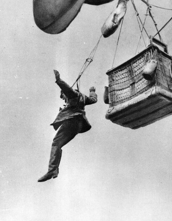 Parachuting Art Print featuring the photograph Early Parachute by Three Lions