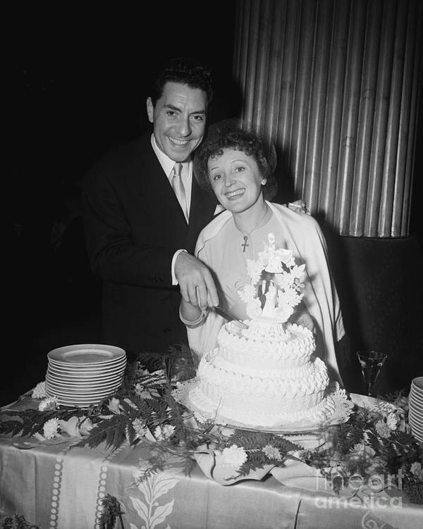 Following Art Print featuring the photograph Edith Piaf Cuts Wedding Cake by Bettmann