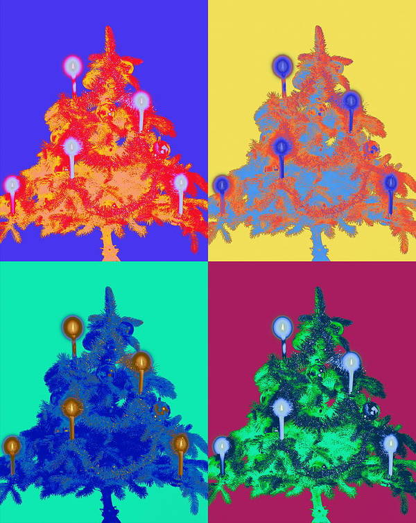 Celebration Art Print featuring the photograph Four Christmas Trees Decorated With by Peter Weber