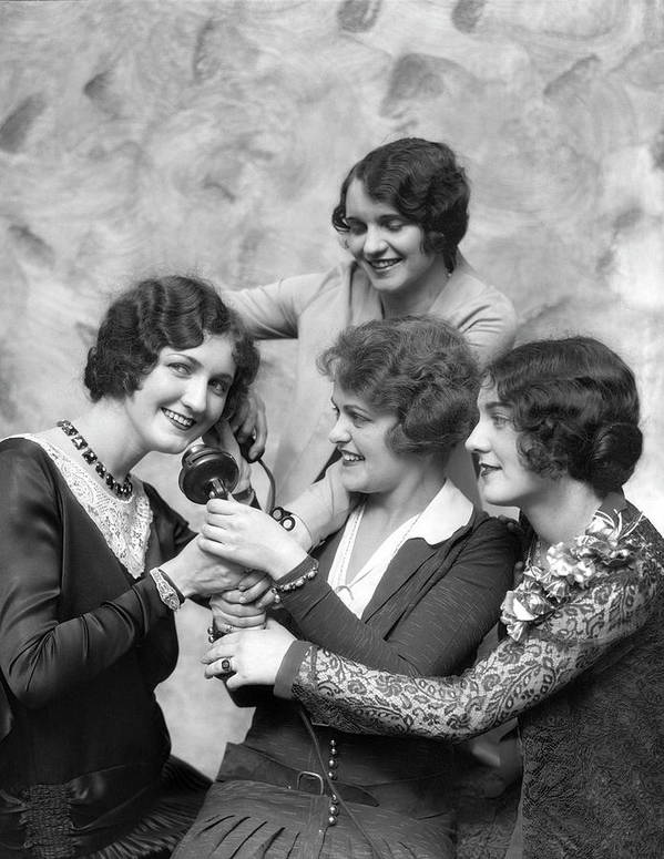People Art Print featuring the photograph Four Smiling, Marcel-waved Women. One by H. Armstrong Roberts