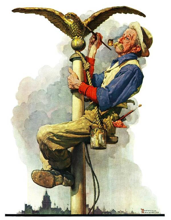 Eagles Art Print featuring the drawing gilding The Eagle Or painting The Flagpole by Norman Rockwell