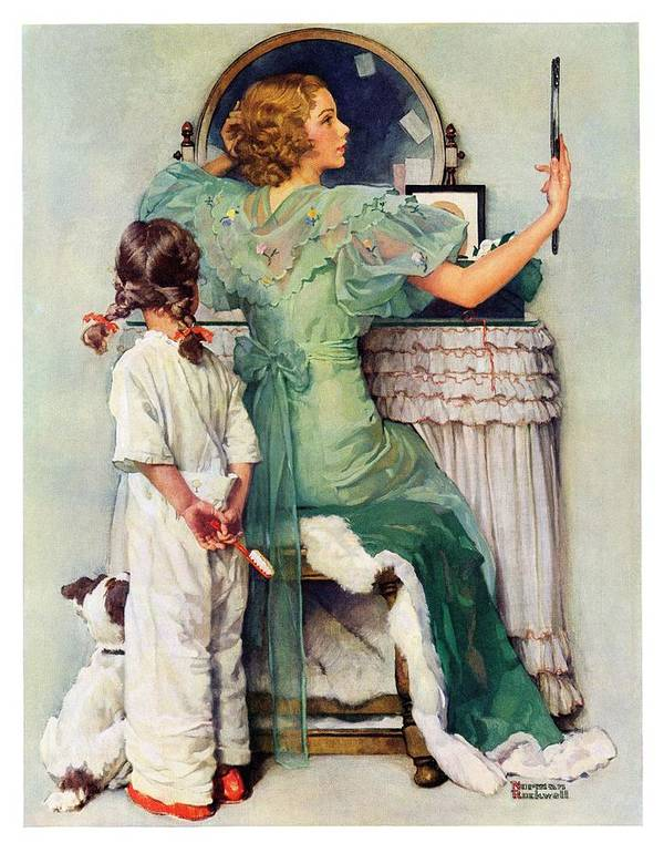Dressing Tables Art Print featuring the drawing Going Out by Norman Rockwell