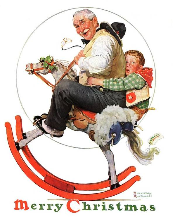 Christmas Art Print featuring the drawing gramps On Rocking Horse by Norman Rockwell