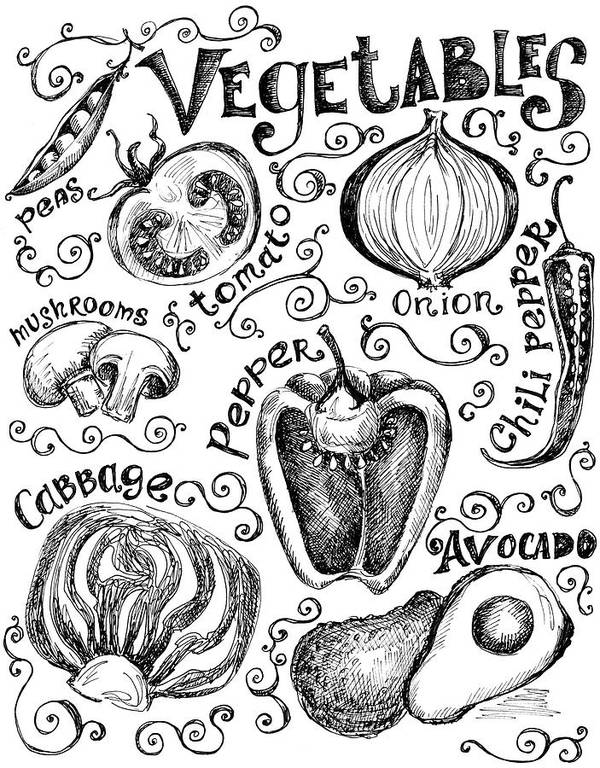 Edible Mushroom Art Print featuring the digital art Hand Drawn Vegetable Graphics And Labels by Kalistratova