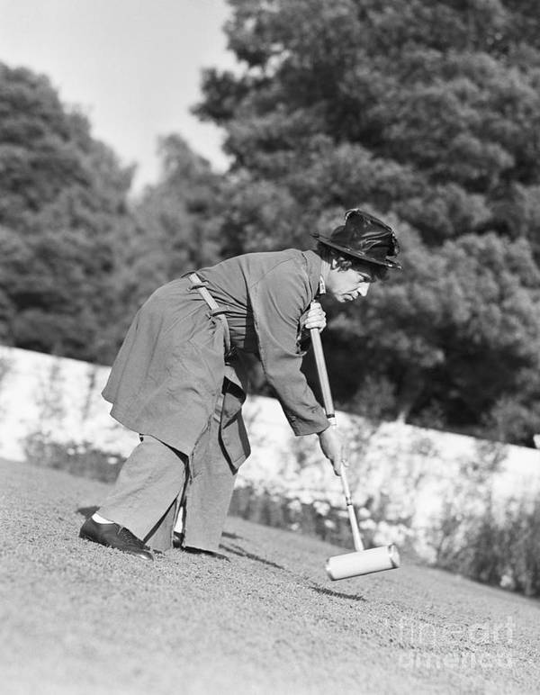 People Art Print featuring the photograph Harpo Marx Playing Croquet by Bettmann