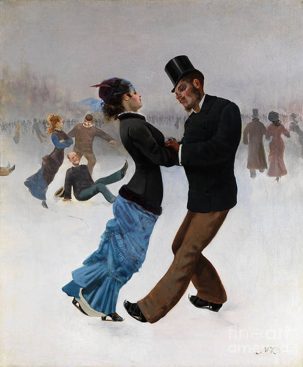 Oil Painting Art Print featuring the drawing Ice Skaters, C. 1920. Artist Klinger by Heritage Images