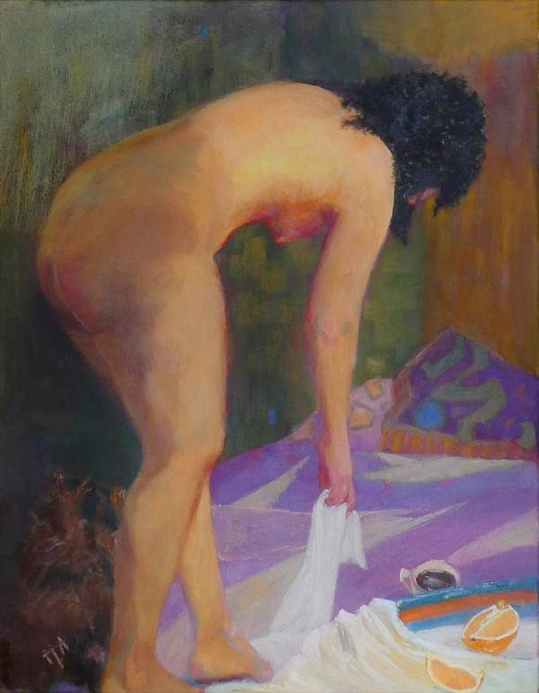 Nude Art Print featuring the painting If Must Be Somewhere by Irena Jablonski