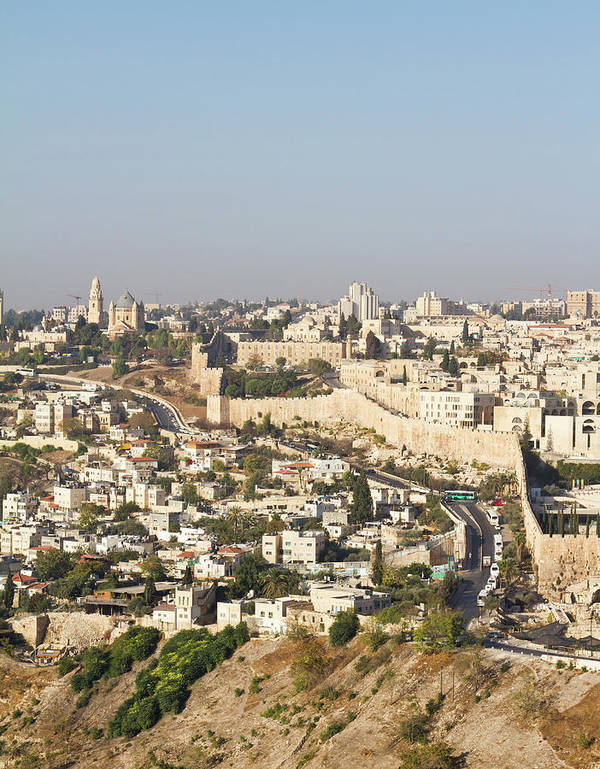 Built Structure Art Print featuring the photograph Jerusalem City Wall From A Distance by Raquel Lonas