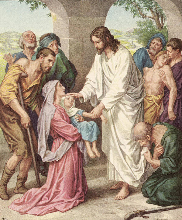 Engraving Art Print featuring the photograph Jesus Healing The Sick by Kean Collection