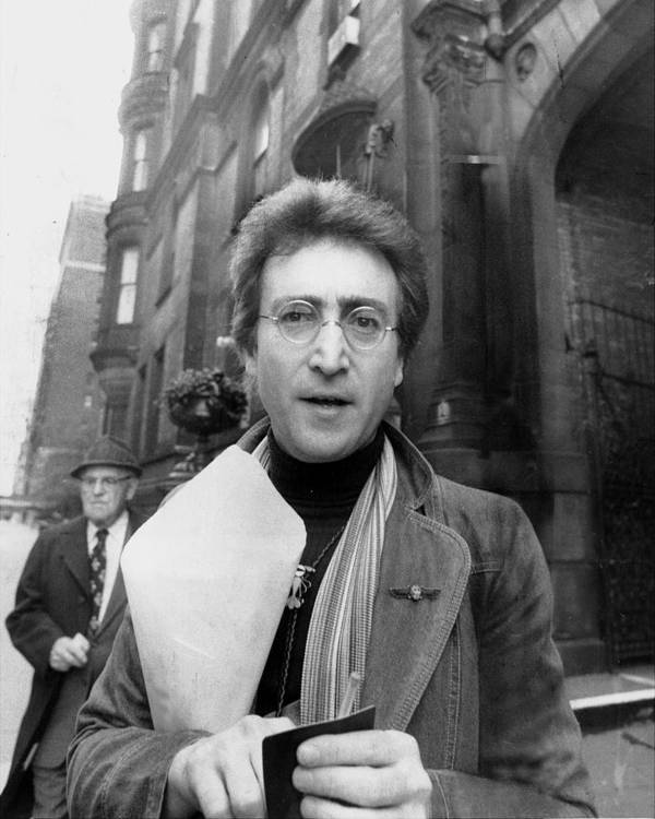Apartment Art Print featuring the photograph John Lennon Returning From Florist Shop by New York Daily News Archive